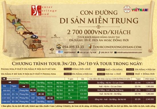 Quảng bá tour du lịch Con đường di sản miên Trung ...